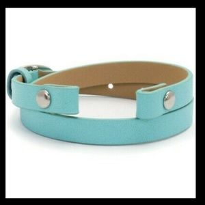 ORIGAMI OWL 💙 Aqua Blue Leather Wrap Bracelet